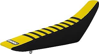 Enjoy MFG Ribbed Seat Cover for 2010 - 2017 Suzuki RMZ 250 Latest Models - Black Sides / Yellow Top / Black Ribs