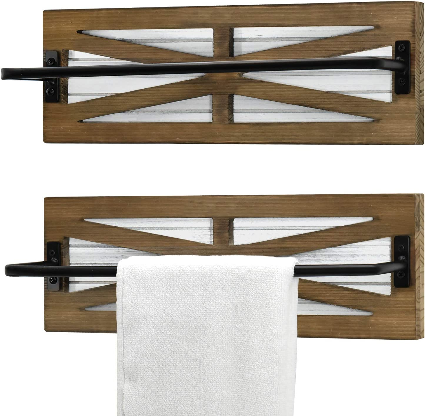 2PCS Farmhouse Towel Rack for Wall Raleigh Mall Rustic Mounted Surprise price Over Bathroom