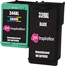 INK INSPIRATION® 2 Cartuchos de Tinta Remanufacturados para HP 339 344 DeskJet 5740 5745 5940 6540 6620 6840 6980 9800 Photosmart 2570 2573 2575 2605 2610 2710 8050 8150 8450 8750