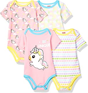 Fisher-Price Unisex-Child 4 Pack Short-Sleeve Cotton Bodysuit Overalls