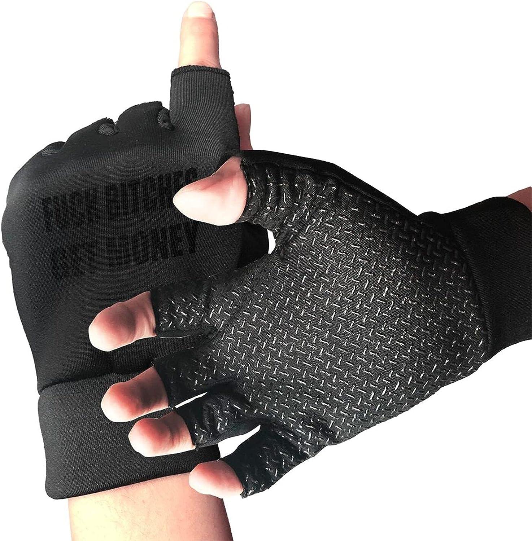 Fuck Bitches Get Money Non-Slip Working Gloves Breathable Sunblock Fingerless Gloves For Women Men