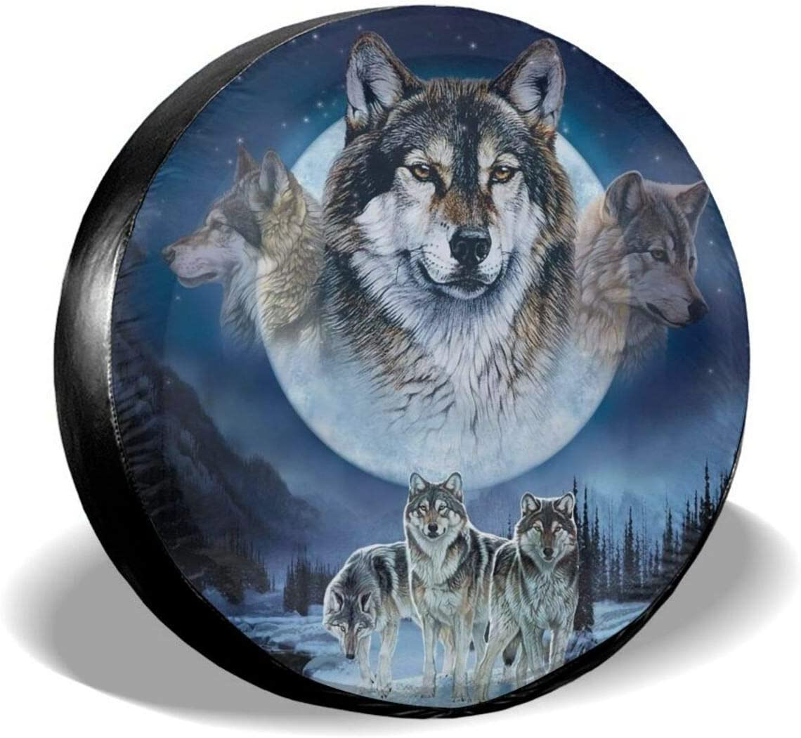 cozipink Wolf Lovers Wildlife Spare Tire Cover Wheel Protectors Weatherproof Universal for Trailer Rv SUV Truck Camper Travel Trailer 14 15 16 17