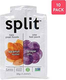 Split Nutrition Peanut Butter and Grape Jelly Squeeze Packs, Gluten-free, Non-GMO, Plant-Based, Energy Fast Snack, Pack of 10 (1.34 ounce each)