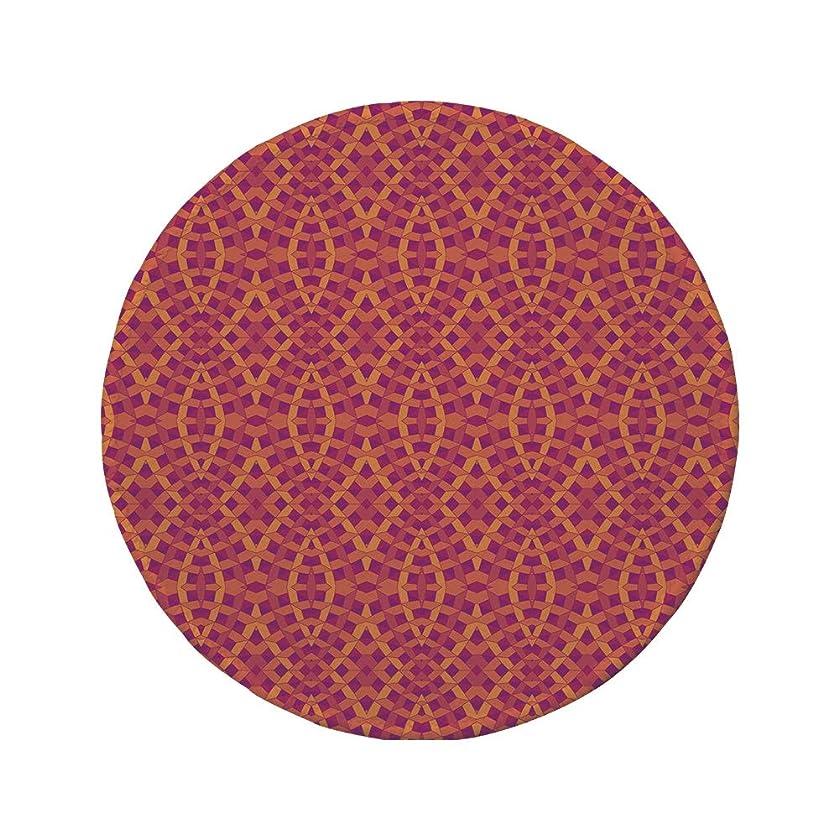 Non-Slip Rubber Round Mouse Pad,Geometric,Modern Art with Ethnic Elements Harmony of Past and Future Theme,Orange Marigold Purple,11.8