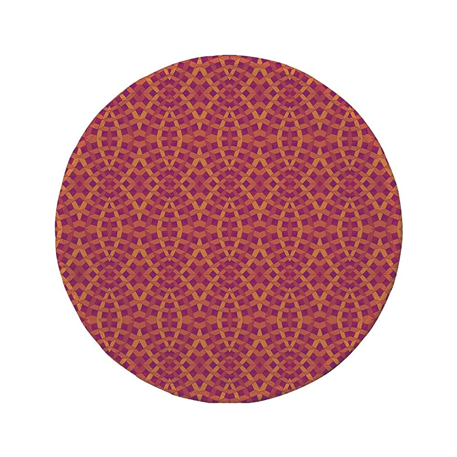 Non-Slip Rubber Round Mouse Pad,Geometric,Modern Art with Ethnic Elements Harmony of Past and Future Theme,Orange Marigold Purple,11.8