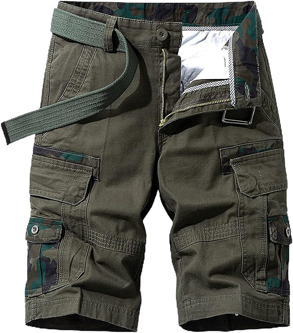 chouyatou Men's Summer Military Flat Front Camo Print Spliced Twill Cargo Shorts