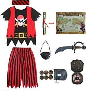 Kids Pirate Costume,Pirate Role Play Dress Up Completed Set 8pcs for Boys Size 3-4,5-6,7-8,8-10 (3-4years) Red/Black