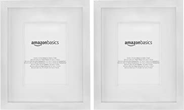 AmazonBasics Photo Frame with Mat | 20 x 25 cm matted to 13 x 18 cm, Nickel, 2-Pack