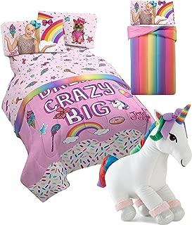 JoJo Siwa Twin Comforter and Sheet Set + Plush Sparkle Unicorn Pillow Buddy