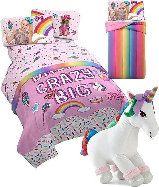 JoJo Siwa Twin Comforter And Sheet Set Plush Sparkle Unicorn Pillow Buddy