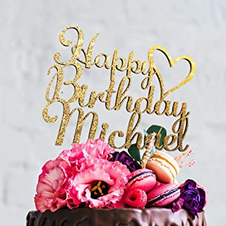 Happy Birthday Personalized Unique Custom Birthday Cake Topper with Customizable Name and Color (CT-7)