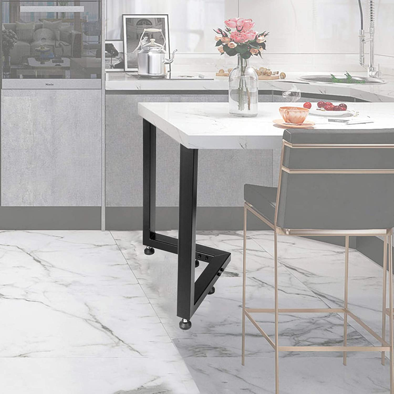 Happybuy Metal Table Legs Set of 2, Dining Table Legs Black, Des