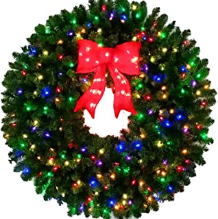 4 Foot Multi-Color L.E.D. Christmas Wreath with Pre-lit Red Bow - 48 inch - 200 LED Lights - Indoor - Outdoor