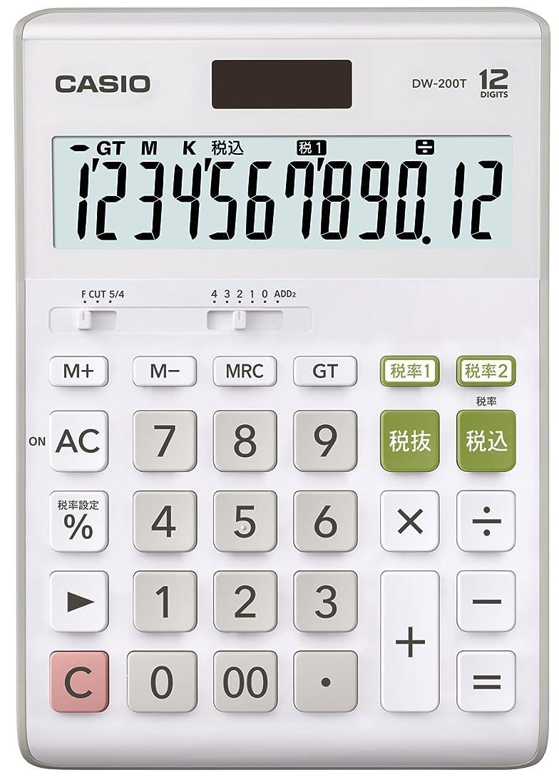 トロリースリル安息カシオ スタンダード電卓 W税率設定?税計算 デスクタイプ 12桁 DW-200T-N ホワイト