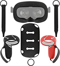 [Newer Version] Esimen Touch Controller Grip Cover, VR Silicone Face Mask, Skin Set for Oculus Quest, Premium Connected Kn...
