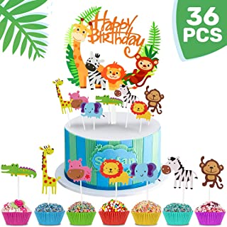 iZoeL 36pcs Jungle Safari Cake Cupcake Decoration, 1pcs Jungle Animals Happy Birthday Banner, 35 Animal Cupcake Toppers fo...