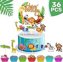iZoeL 36pcs Jungle Safari Cake Cupcake Decoration, 1pcs Jungle Animals Happy Birthday Banner, 35 Animal Cupcake Toppers for Kid Birthday Party , Jungle Safari Theme Party