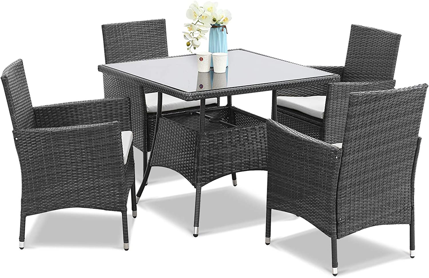 OFFicial shop Wisteria Lane Max 65% OFF Outdoor Furniture 5-Piece Patio Tabl Wicker Dining