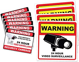 Video Surveillance Camera Sticker Sign - 10 Pack Decal - Home Business Alarm System Stickers - (4)5½