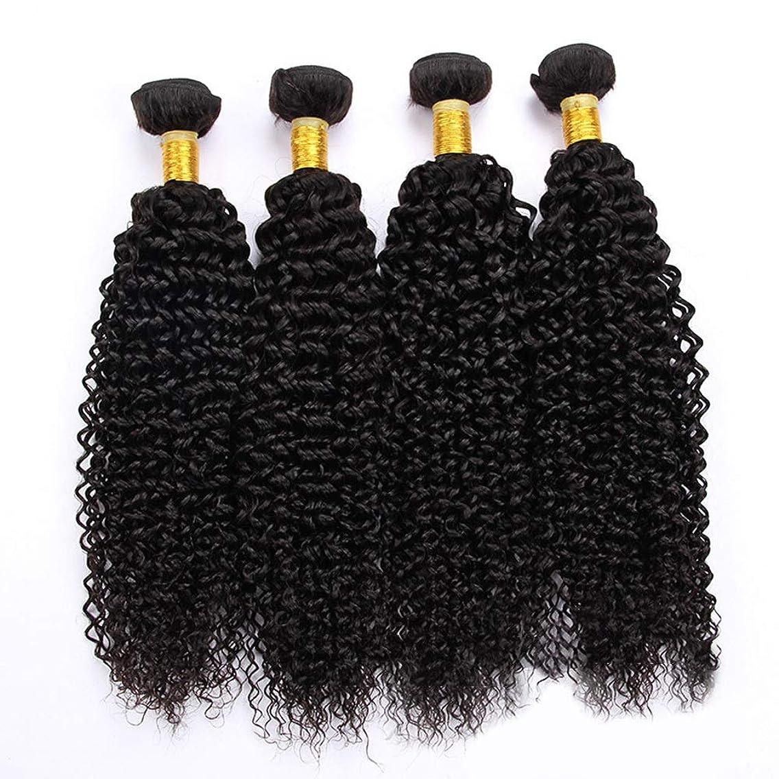 デコレーションその間許すかつら ブラジル巻き毛織り100グラム/個ジェリーカール人毛バンドルエクステンションナチュラルカラー1バンドルAパックアフロウィッグ (色 : 黒, サイズ : 20 inch)