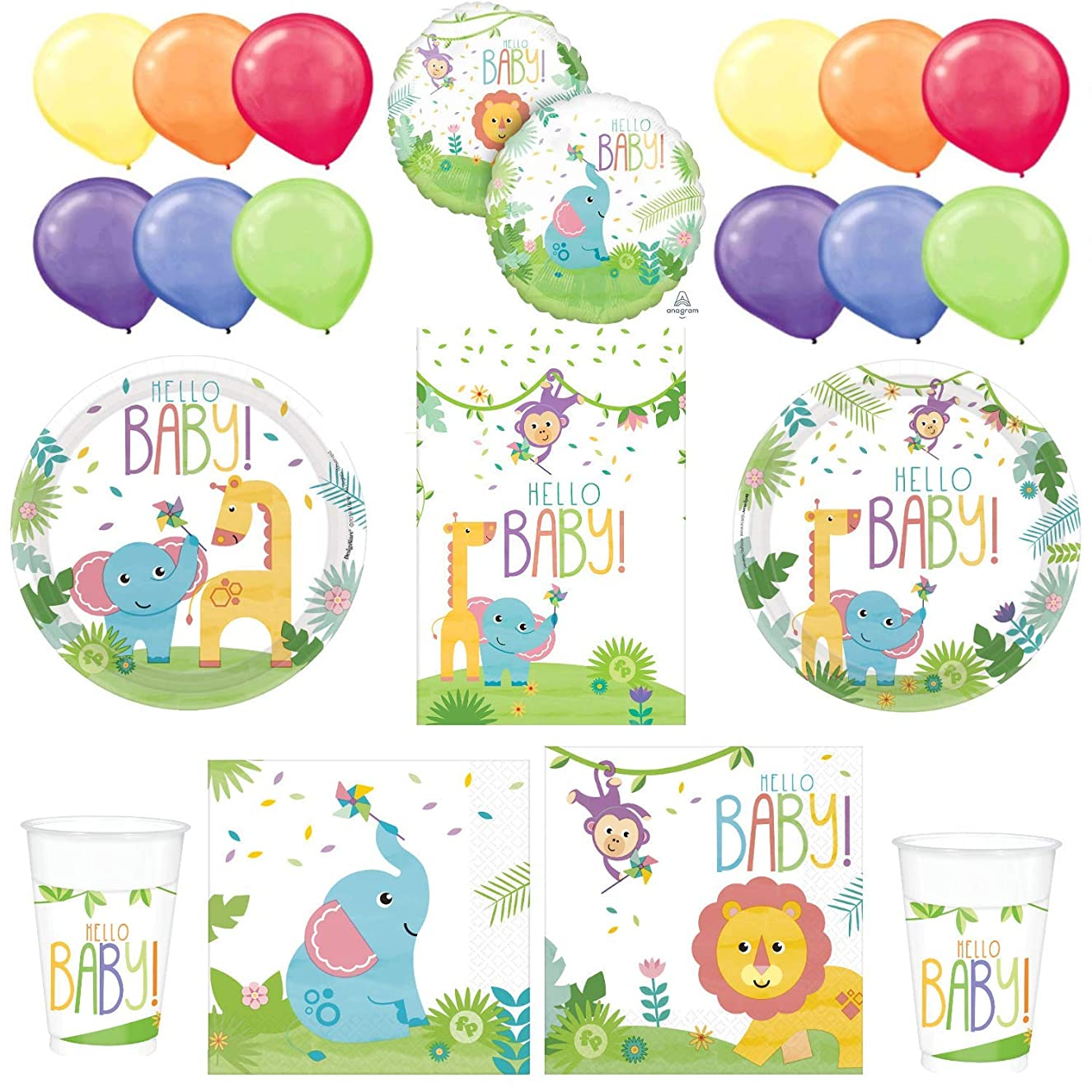 Fisher Pricea Hello Baby Shower Kit: Plates, Napkins, Tablecloth, Cups, a Foil Balloon and a Package of Balloons - Unisex, Boy or Girl