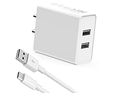 A2Z Shop Fast Type C Charger for New Macbook 12 inch, Nexbit Robin, Nextbit Robin, Nokia 10, Nokia 7, Nokia 8, Nokia 9, Nokia E1, Nokia Edge, Nokia N1 Tablet Dual Port Charger Adapter Wall Charger   Mobile Charger   Fast Charger   Android Charger With 1 Meter USB Type C Charging Data Cable (2.4 Amp, White)
