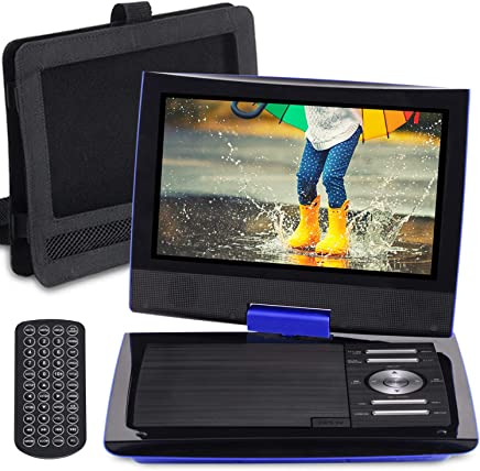 """SUNPIN 11"""" Portable DVD Player with 9.5 inch HD Swivel Screen, Dual Earphone Jack, Supports SD Card/USB/CD/DVD and Multiple Disc Formats, Headrest Mount Holder, Car Charger, Power Adaptor (Blue)"""