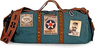 The House of Tara - Combat Blue Cotton Canvas Duffle Gym and Sports Bag with Stylish Design and Zipped Compartments for Me...