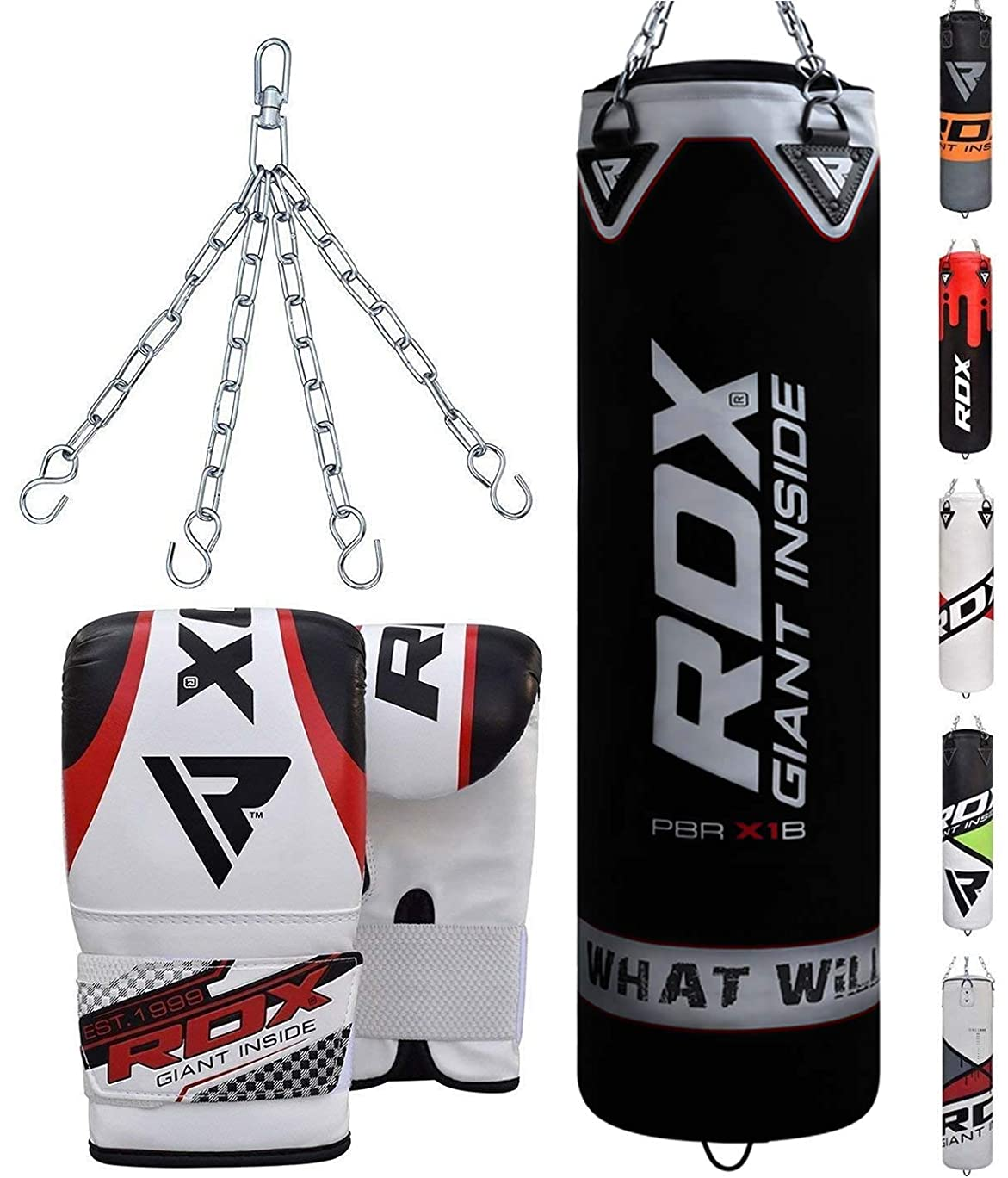 RDX Punching Bag Filled Set Kick Boxing Heavy MMA Training with Gloves Punching Mitts Hanging Chain Muay Thai Martial Arts 4FT 5FT