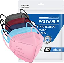 KN95 Face Mask 50 PCs, in FDA CDC List, WWDOLL Multiple Colour 5 Layers KN95 Masks, Filter Efficiency≥95% Protection Against PM2.5 Dust, Air Pollution