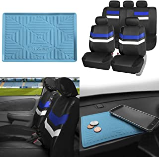 FH Group PU006115 Varsity Spirit PU Leather Seat Covers, Airbag & Split Ready w. FH3011 Silicone Anti-Slip Dash Mat, Blue/Black Color
