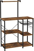 VASAGLE Baker's Rack, Coffee Station, Microwave Oven Stand, Kitchen Shelf with Wire Basket, 6 S-Hooks, Utility Storage for Spices, Pots, and Pans, Rustic Brown and Black UKKS35X