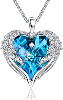 قلائد قلب للنساء أجنحة الملاك كريستال قلادة هدية ذكرى رومانسية لتقديمها كهدية عيد الميلاد للأم والزوجة