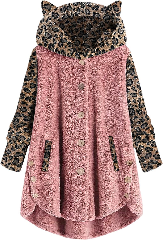 Women Winter Tops Cat Ear Colorblock Warm Hooded San Jose Mall Leopard High order Fleece
