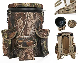 Riverside Outdoor Backpack Camo Spinning Swivel Bucket Seat Hunting Shooting Seat Storage Pockets