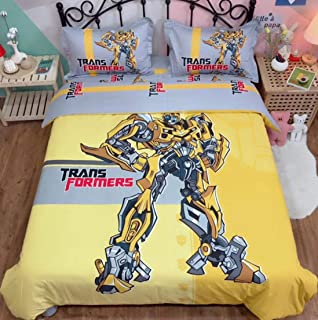 ZI TENG Marvel Transformers Bedding Set Boys Cartoon Transformers Bumblebee Duvet Cover 100% Cotton Kids Teenagers Boys Bed Set,4pcs 1 Duvet Cover 1 Flat Sheet 2 Pillowcase Twin Full Queen King
