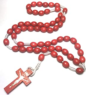 Holy Relic Rosary Touched to relics of St Rita St Dymphna & St Gianna Molla patrons of Mothers Day Children Cancer Lost Causes Illness Depression Anxiety Stress Worry Hardship Drug use (Red)
