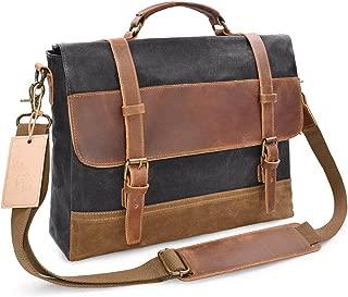 Men's Accessories Men's Messenger Bag Waterproof Canvas Crazy Horse Leather Computer Laptop Bag 14 Inch Briefcase Case Vintage Shoulder Bag College Outdoor Recreation (Color : Gray)