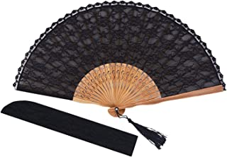 Amajiji Chinese/Japanese Vintage Retro Style Bamboo Wood Silk Folding Hand Fan for Women HBSY (23cm) (006)