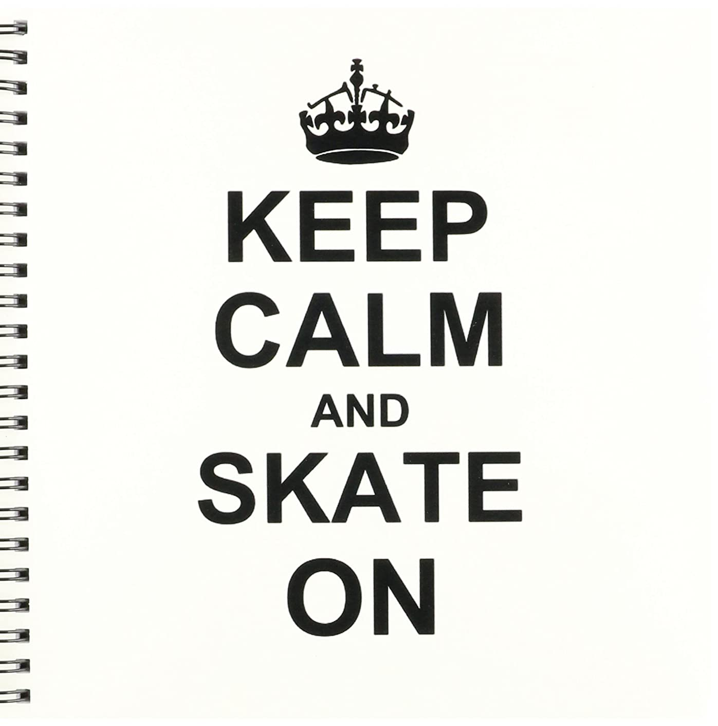 3dRose db_157771_1 Keep Calm and Skate on Carry on Skating Funny Skateboarding Ice Skater Or Roller Skating Gifts Drawing Book, 8 by 8-Inch