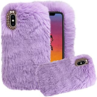 Aearl for Samsung Galaxy A20/A30 Case,Galaxy A20/A30 Rabbit Fur Case,Luxury Cute 3D Homemade Diamond Winter Warm Soft Furry Fluffy Fuzzy Bunny Ear Plush Phone Case Cover for Girls Women-Purple