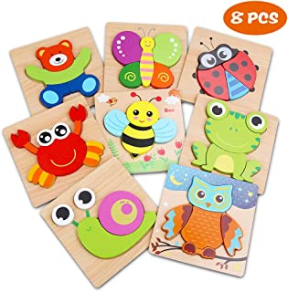 Wooden Jigsaw Puzzles for Toddlers 1 2 3 Year Old,8 Pack Preschool Animals Puzzles Set for Kids Children,Shape Color Children Learning Educational Puzzles Toys for Boys and Girls