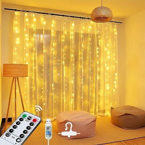 Guirlande Lumineuse Rideau,OMERIL Rideau Lumineux USB Dimmable,8 Modes d'Eclairage, avec Minuterie,Crochets et Téléco...