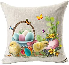 Best Spring Gift Happy Easter Greetings Rabbit Flower Color Eggs Basket Little Yellow Chicken On The Grass Sturdy Cotton L...