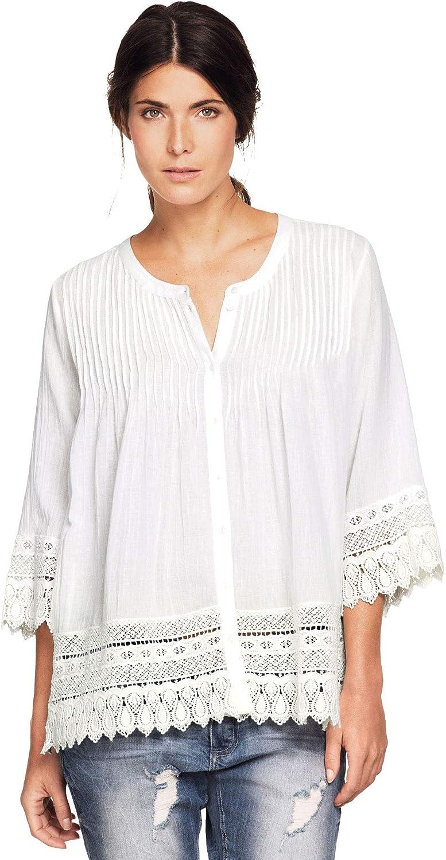 安売り ellos Women's Plus Size Crochet Trim Shirt Blouse 今だけスーパーセール限定
