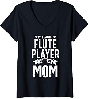 Womens Flute Player Mom Funny Favorite Marching Band Parents Gift V-Neck T-Shirt