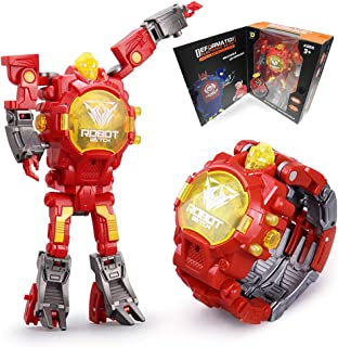 Robot Watch for Kids, Digital Deformed Electronic Robot Watch Toys for Boys, 2 in 1 Deformation Robot Wrist Watch Toys for 3, 4, 5 - 10 Years Old Boys or Girls ( Red )