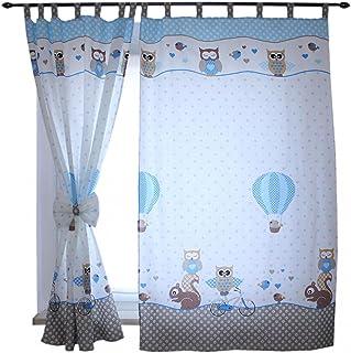 TupTam Rideaux pour Chambre d'enfant avec des Passants 2 pcs, Hiboux 2 Bleu, env. 155x95 cm