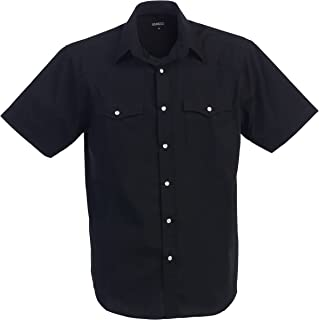 Mens Casual Western Solid Short Sleeve Shirt with Pearl Snaps