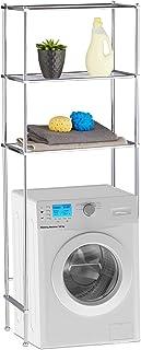 Relaxdays Etagère machine à laver, Etagère WC, 3 étages, armoire de machine à laver chrome, HLP 162 x 63 x 30, argenté